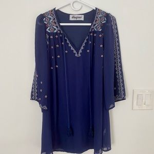 Meghan LA Blue Embroidered Mini Dress Size Small